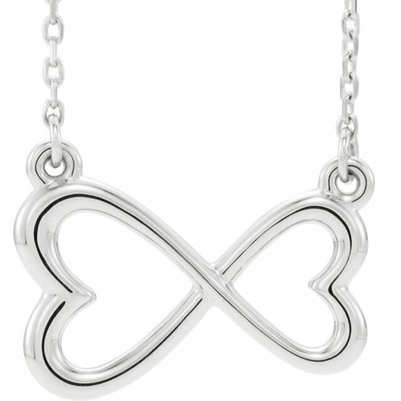 Infinity Horizontal Double Heart Necklace