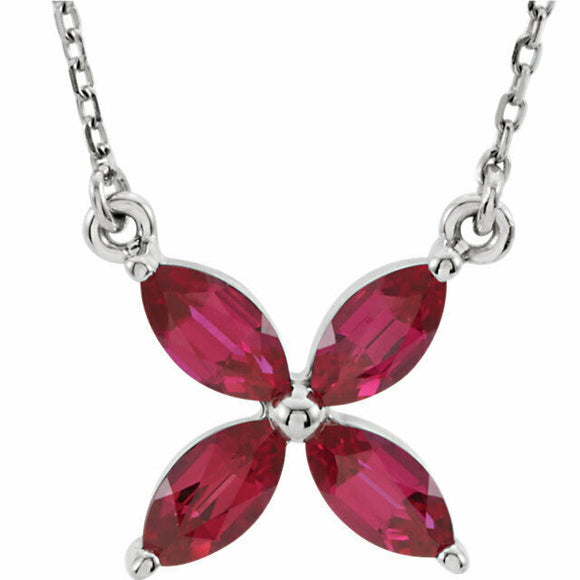 Ruby Flower Pendant Necklace White Gold