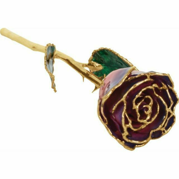 Purple & Pink 24K Gold REAL Rose Valentine's Day Gift Keepsake NEW USA Made