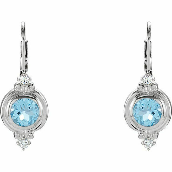 Swiss Blue Topaz Sterling Silver Vintage Inspired Leverback Dangle Earrings New