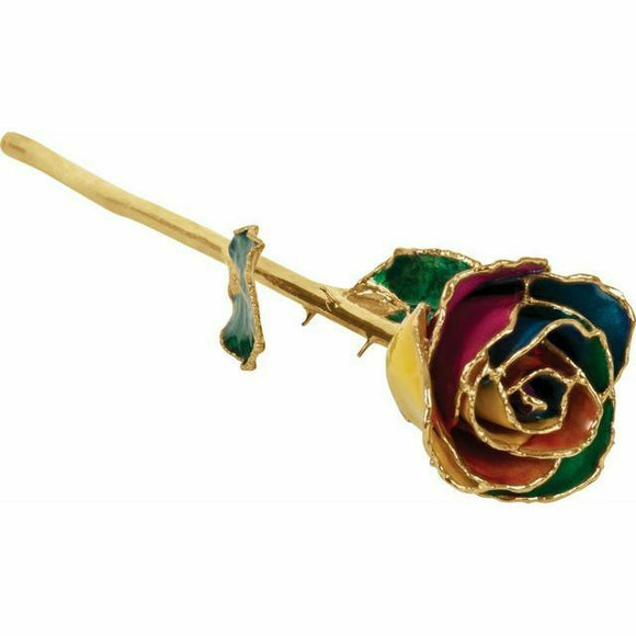 Rainbow 24K Gold REAL Rose Valentine's Day Gift Keepsake NEW USA Made