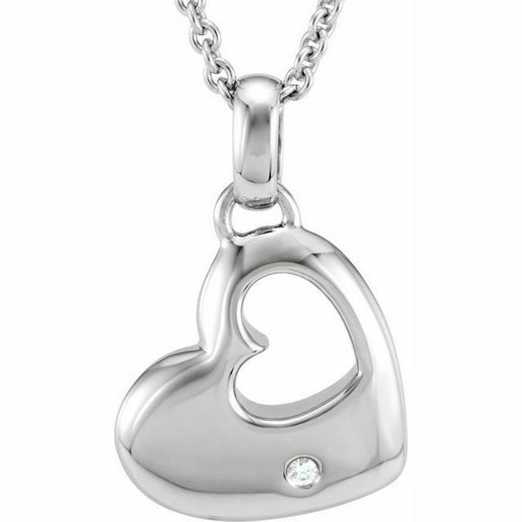 Diamond Sterling Silver Heart Pendant Necklace NEW 18