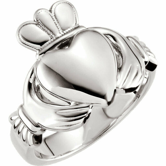 Sterling Silver 8.5mm Claddagh Ring Yellow Gold Rose Gold Available