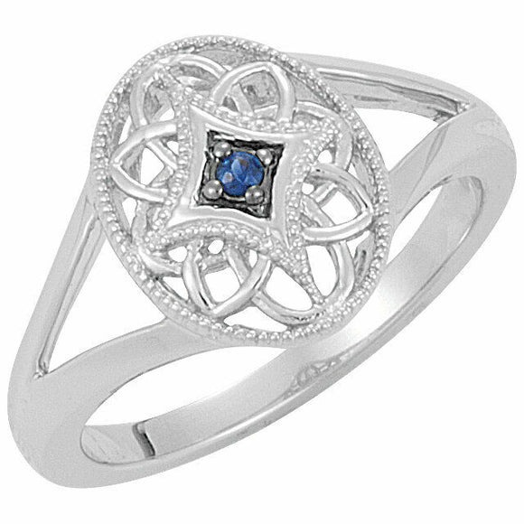 Blue Sapphire Filigree Oval Ring Size 7 Sizeable Sterling Silver Solid September