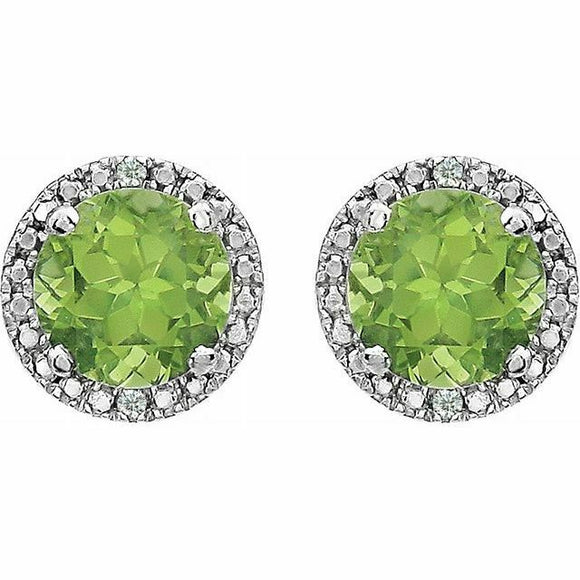 Peridot Diamond Halo Stud Earrings