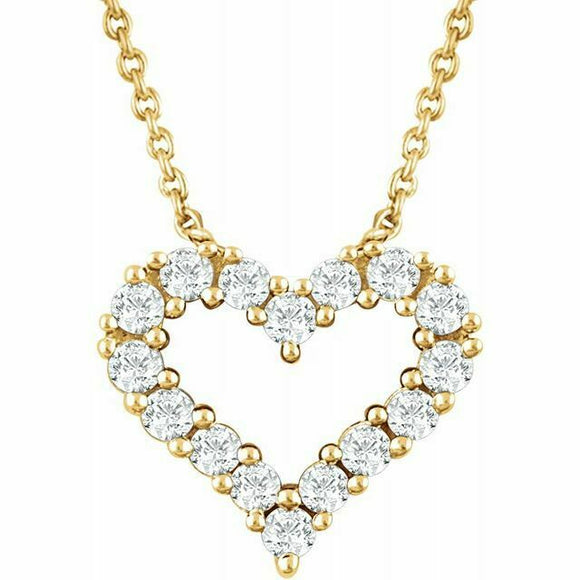 Diamond Heart Pendant Necklace Yellow Gold 14K