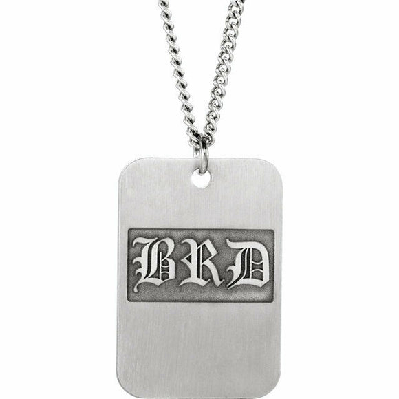 CUSTOMIZE Sterling Silver 3-Letter Monogram Dog Tag Necklace