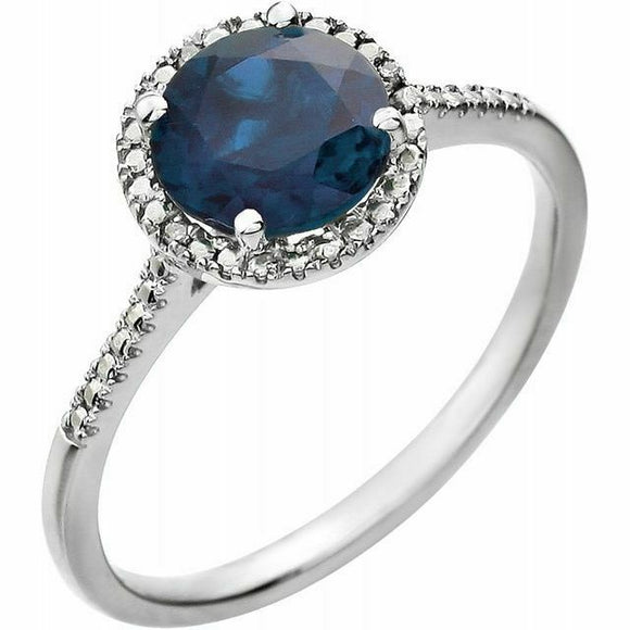 Sapphire Diamond Halo Ring Sterling Silver