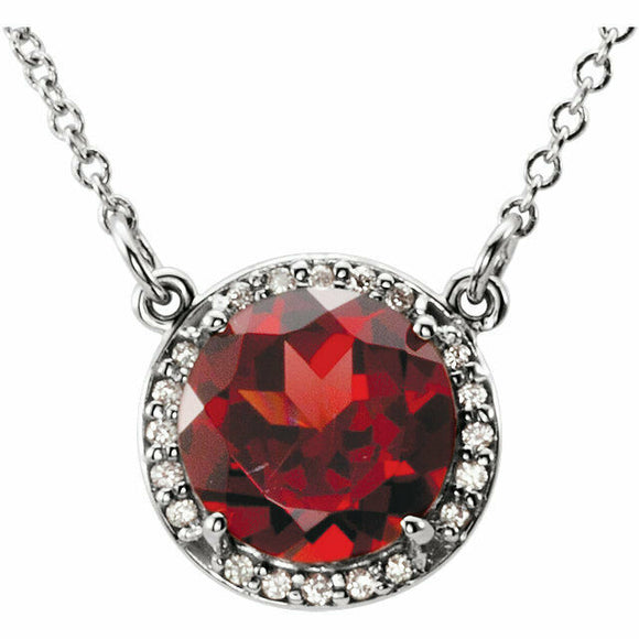 Mozambique Garnet Diamond Halo Pendant White Gold January Birthstone New In Box