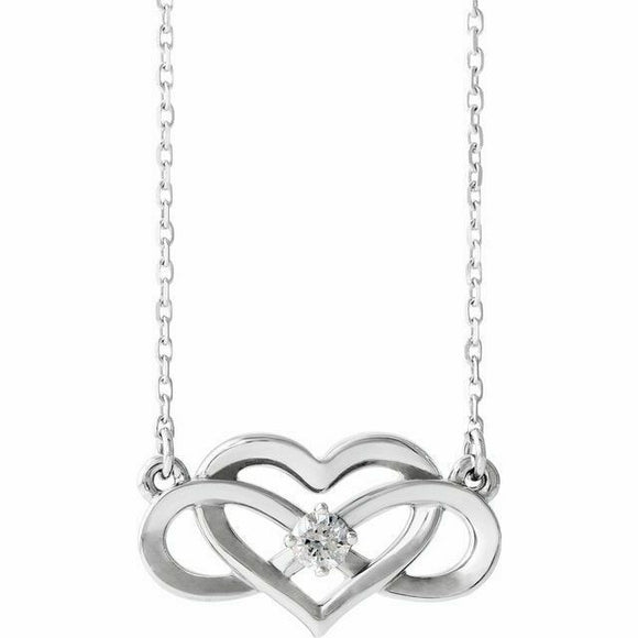 Diamond Infinity Heart Pendant Necklace Sterling Silver NEW .925 Solid 18