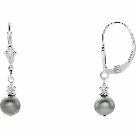Dark Grey Cultured Pearl Leverback Earrings New Made in USA