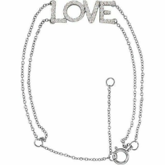 Diamond LOVE Chain Bracelet White Gold