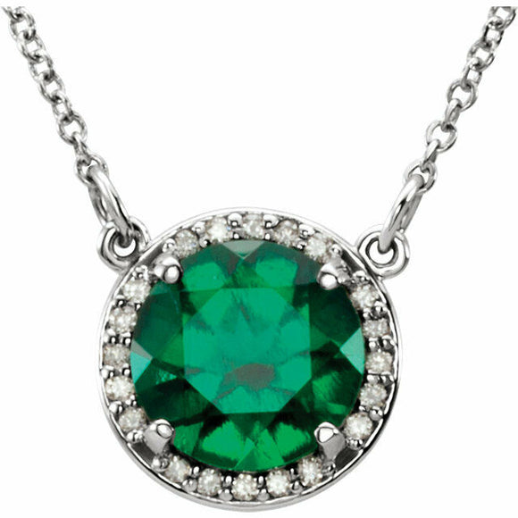 Emerald Diamond Halo Necklace White Gold