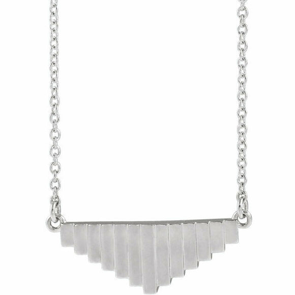 Pyramid Steps Horizontal Pendant Platinum Solid 18 Inches