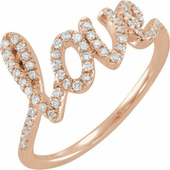 Diamond l o v e Ring Rose Gold NEW 14K Solid Size 7 Sizeable 1/4 Carat USA Made