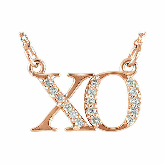 XO Diamond Necklace Rose Gold Hugs and Kisses 16.5