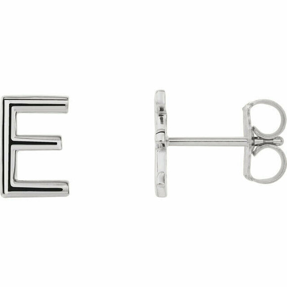 E Initial Stud Earring White Gold 14K Solid