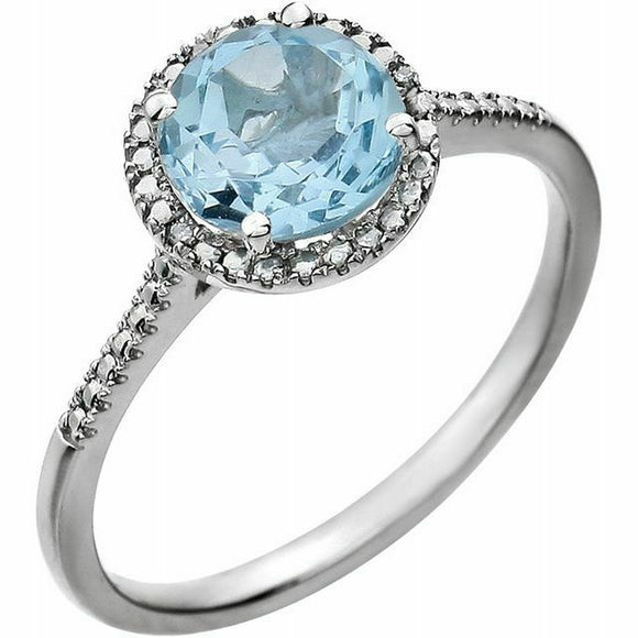 Genuine Blue Topaz Diamond Halo Ring Sterling Silver NEW Solid Size 7 Sizeable