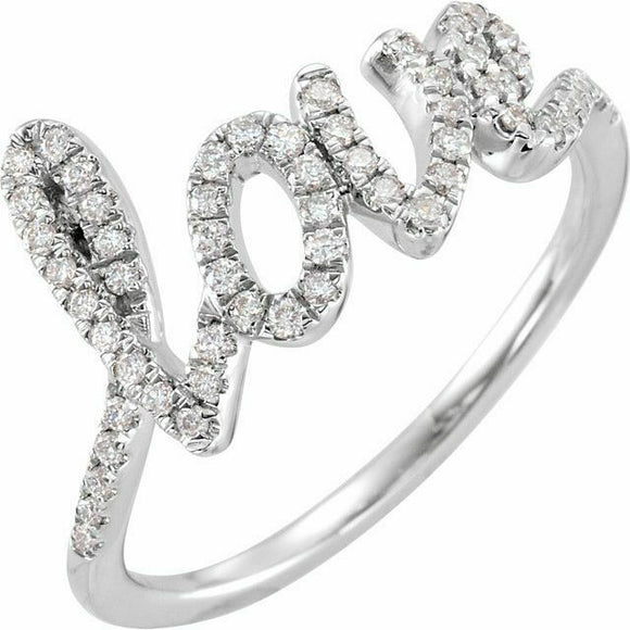 Diamond l o v e Ring White Gold NEW 14K Solid Size 7 Sizeable 1/4 Carat USA Made