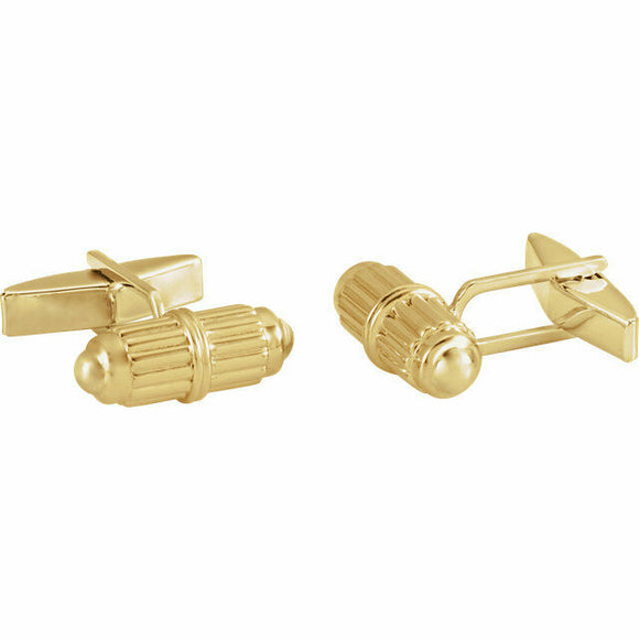 Classic Barrel Cuff Links Yellow Gold 14K Solid New In Box