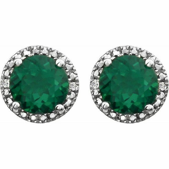 Emerald Diamond Halo Stud Earrings