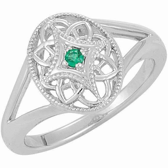 Emerald Filigree Oval Ring Size 7 Sizeable Sterling Silver May Birthstone NEW
