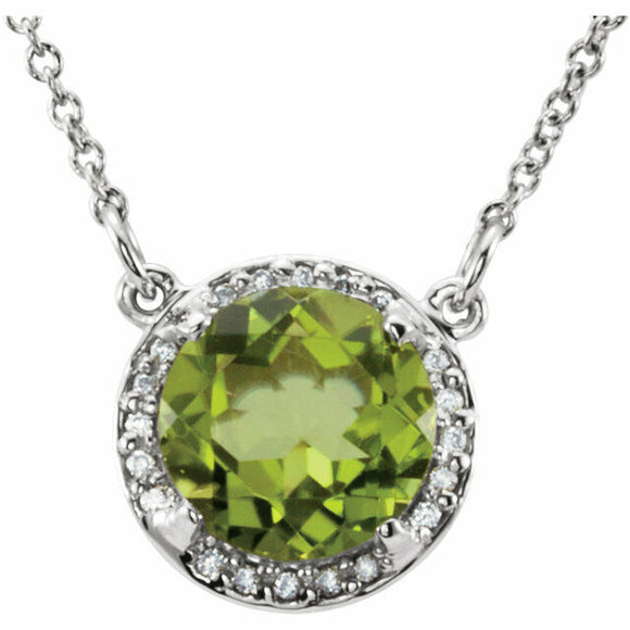 Peridot Diamond Halo Pendant White Gold