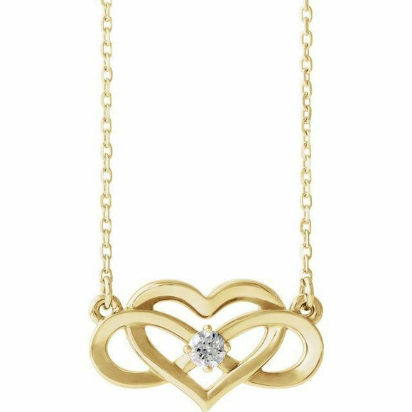 Diamond Infinity Heart Pendant Necklace Yellow Gold NEW 14K Solid 18