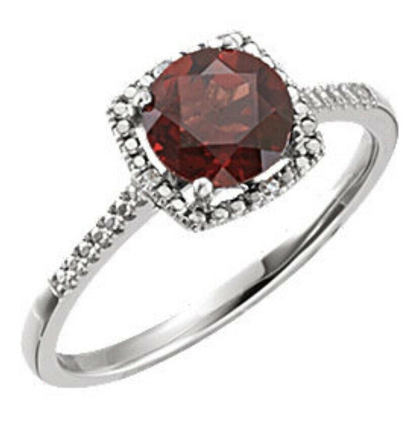 Garnet Diamond Halo Ring Genuine Mozambique Garnet Sterling Silver 7 Sizeable