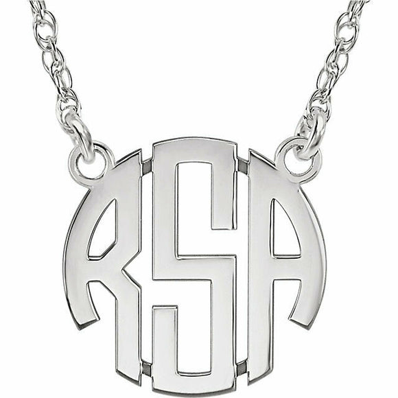 CUSTOMIZE Sterling Silver 15 mm 3-Letter Block Monogram Necklace