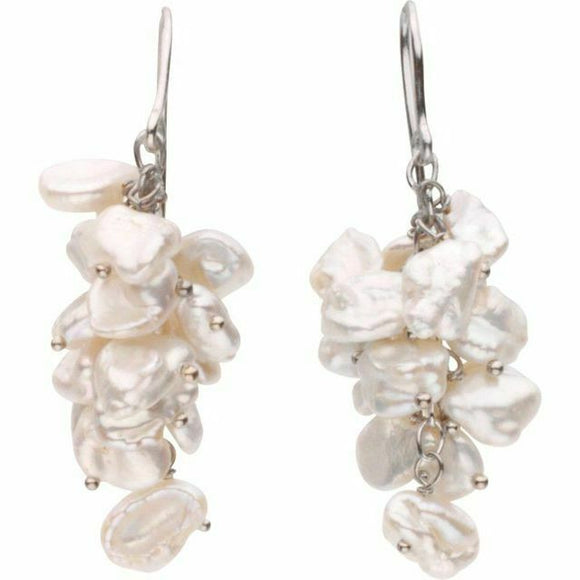 Sterling Silver Pink Keshi Cultured Pearl Cluster Dangle Hook Earrings New