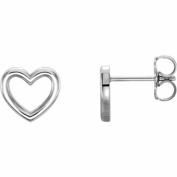 Sterling Silver Heart Outline Stud Earrings New in Box Solid