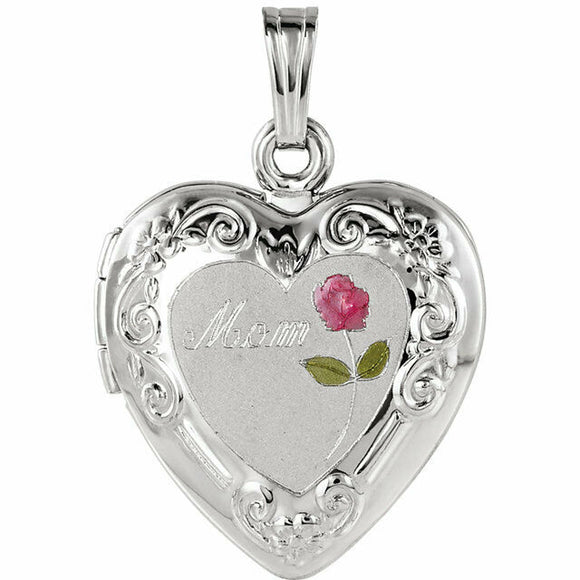 Mom Heart Locket With Rose Sterling Silver New