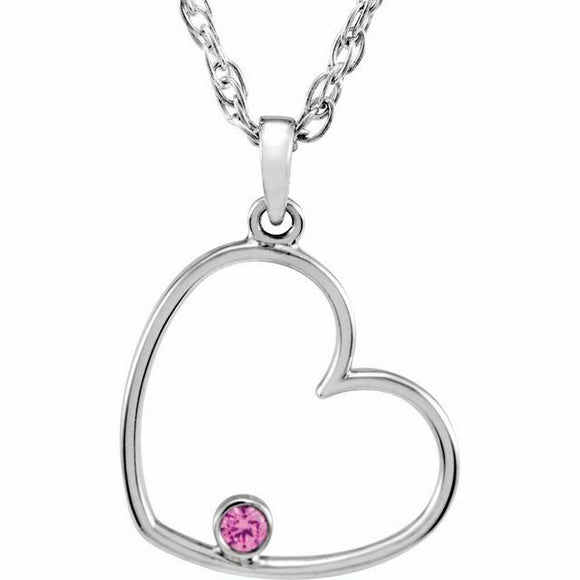 Pink CZ Heart Pendant Necklace Sterling Silver