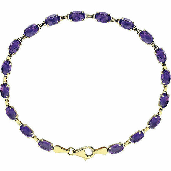 Genuine Amethyst Line Bracelet 14K Yellow Gold