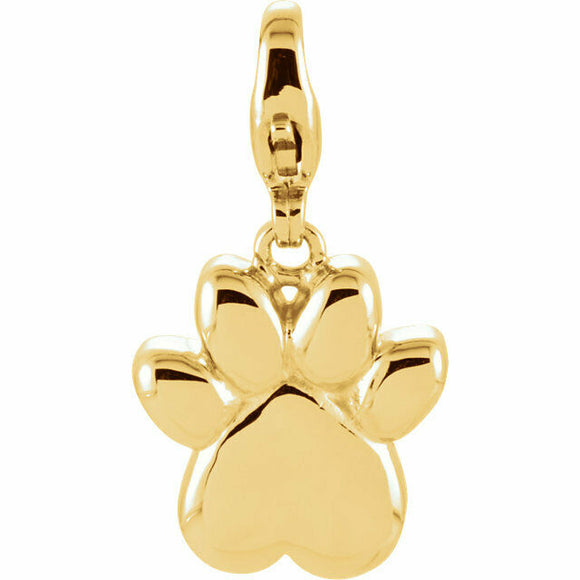 Charming Animals Paw Print Charm Yellow Gold 14K New in Box USA Lobster Clasp