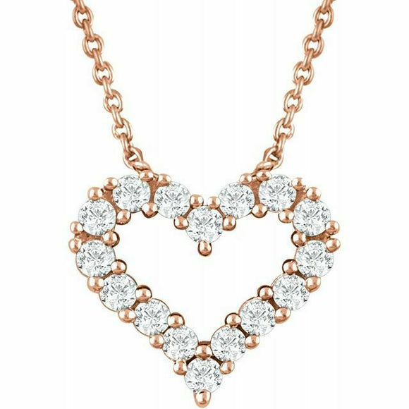 Diamond Heart Pendant Necklace Rose Gold NEW 14K 1/4 Carat USA Made 18