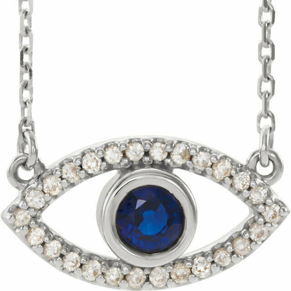 Genuine Blue Sapphire and Diamond Evil Eye Pendant Necklace 14K Gold Protection
