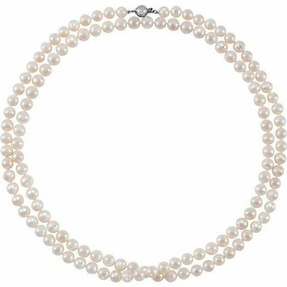 Long Freshwater Cultured Pearl Necklace Sterling Silver Clasp