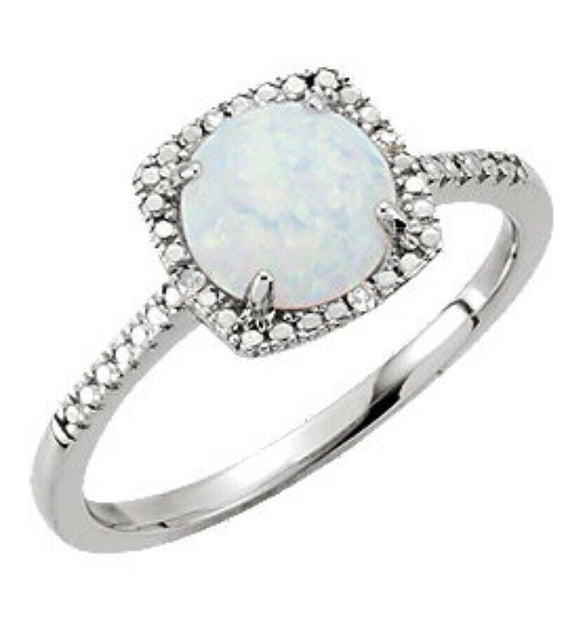 Opal Diamond Halo Ring 7 Sizeable