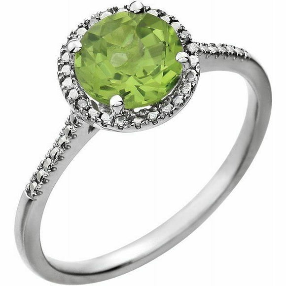 Genuine Peridot Diamond Halo Ring Sterling Silver NEW Solid Size 7 Sizeable