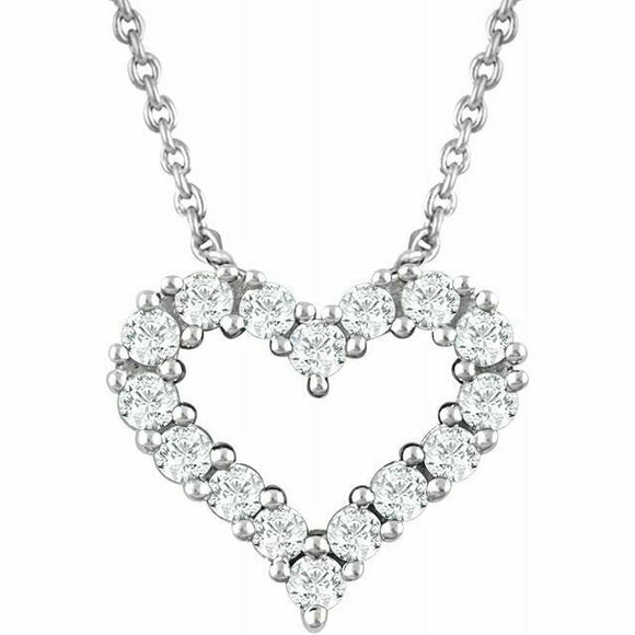 Diamond Heart Pendant Necklace White Gold NEW 14K 1/4 Carat USA Made 18