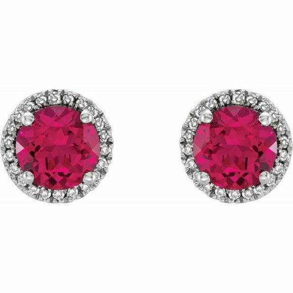 Ruby Diamond Halo Round Stud Earrings Sterling Silver NEW