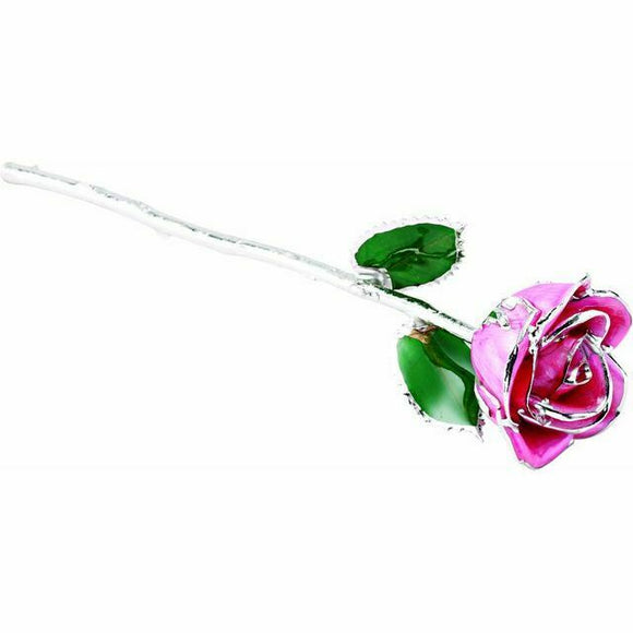 Pink Platinum Trimmed REAL Rose Valentine's Day Gift Keepsake NEW USA Made
