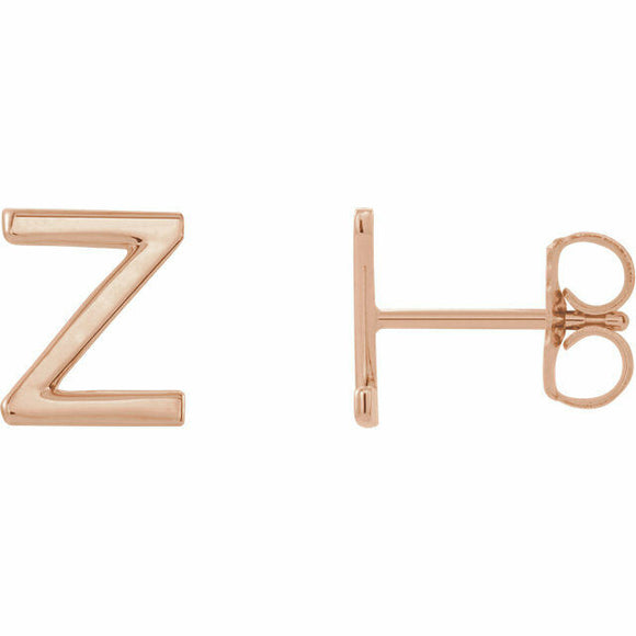 Z Initial Stud Earring Rose Gold Solid
