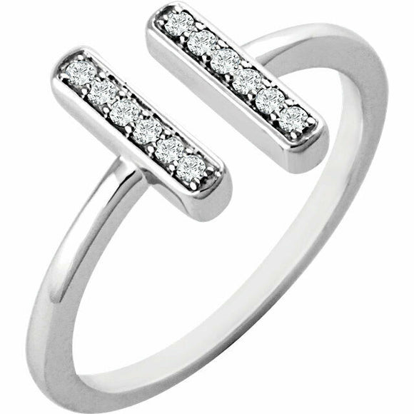 14K White Gold 1/10 CTW Diamond Vertical Bar Ring Diamond Ring Yellow Gold Rose
