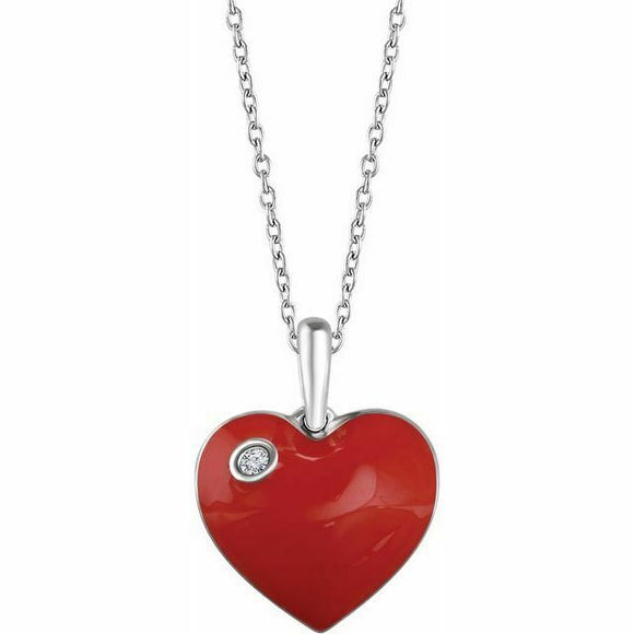 Red Enamel Diamond Heart Pendant Necklace Sterling Silver