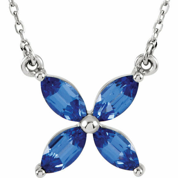 Sapphire Flower Pendant Necklace White Gold July Birthstone
