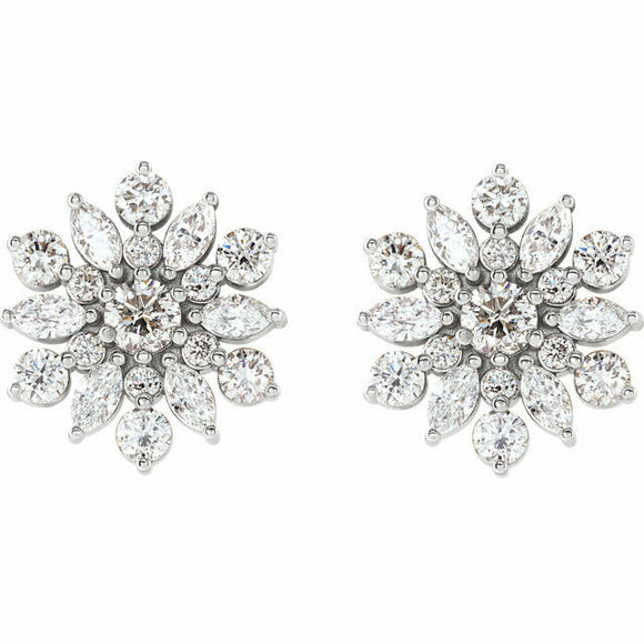 1 Carat Diamond Snowflake Stud Earrings NEW White Gold 14K Solid USA MADE