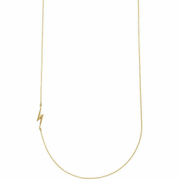 Yellow Gold Lightening Bolt Necklace New Modern Chic Horizontal Pendant Solid